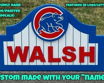 CHICAGO CUBS Sign with your NAME Custom Made, Wood Decor Done in Brillant Team Colors
