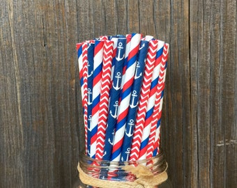 75 Red,White and Blue Anchor, Stripe and Chevron Paper Straws- Patriotic, Nautical Party Supply, Free Shipping!