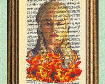DAENERYS STORMBORN -Game Of Thrones Print -Dictionary Art Print -Recycled Antique Book Page