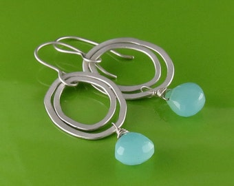 Sterling Silver and Aqua Chalcedony Oval Dangle Earrings, Handmade