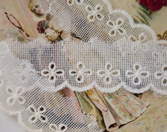 Vintage french Tulle lace , white color