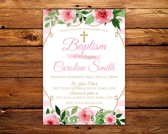 Baptism Invitation. Floral Girl Baptism Invitation. Baby Girl Baptism Invitation. Vintage Baptism Invitation. Gold,Pink & Peach Invite.