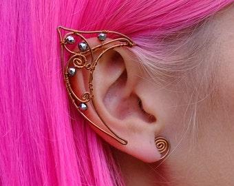 Lovely Delicate Elf Ear Cuffs Copper Wire Gold Elven Ears Wrap Fairy Pixie Cosplay Fantasy Cuffs Earcuffs Earcuff Boho Jewelry Earrings