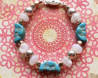 Man in the Moon Bracelet, Beaded Turquoise Bracelet, Celestial Moonstone Jewelry, Blue and Silver Bracelet, Gemstone Layering Bracelet,SRAJD