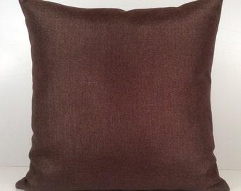 Chocolate Brown Pillow, Throw Pillow Cover, Decorative Pillow Cover, Cushion Cover, Accent Pillow, Linen Blend Pillow, Decor, Gold Sparkles