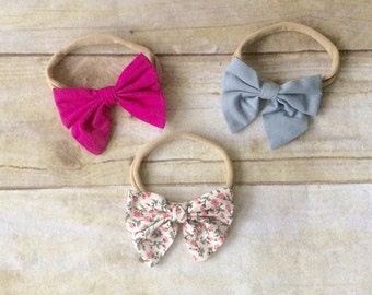3 pack of Cotton nylon bows,Fall  headband bow set 1 size fits all, comfy baby newborn girls hair, floral, gray, magenta
