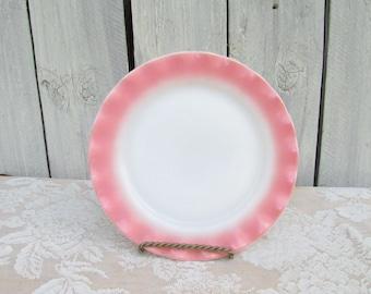 Pink Crinoline Ruffle Milk Glass dinner plate, 1950's Hazel Atlas, Pink Ruffle Plate, Hen Party, Girls Dinner Party, Tea Party Pink Plates