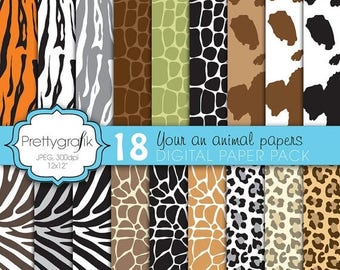 80% OFF SALE animal print digital paper, commercial use, scrapbook papers, background  - PS593