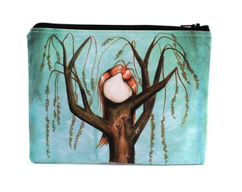 Blighted - Zipper Pouch - Red Headed Girl Willow Tree with Carved Hearts - art by Marcia Furman