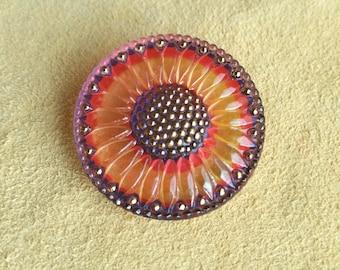 32mm orange, red, purple Sunflower Czech glass button