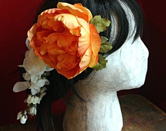 Orange Sherbet Hair Clip Fascinator - Vegan, Short Hair, Wig Clip, ATS, Tribal, Belly Dance, Autumn, Mum, Orange, White, Wisteria