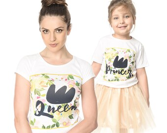 Matching Tees, Queen And Princess Tshirts, Gift For Mom, Mommys Girl Set, Matching Mother And Daughter Clothing, Mommy And Me White Tshirts