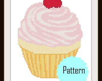 Cupcake Cross Stitch Pattern | Modern counted chart PDF | food dessert cross stitch pattern cake cherry | Instant Download | Pink Red Cream