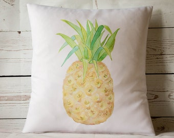 "Watercolour Pineapple - 16"" Cushion Pillow Cover Retro Shabby Vintage Chic - UK Handmade"