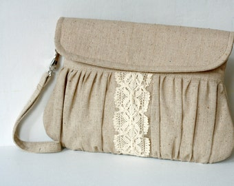 Rustic style linen and lace clutch - bridesmaid gift - wedding clutch