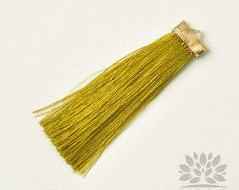 T021-OV// Yellow Olive Rayon with Gold Plated Flat Rectangle Cap Tassel Pendant, 2pcs, 65mm