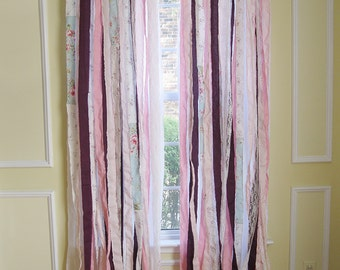 Boho Window Curtains | Bohemian Ribbon Curtains | Shabby Chic Curtains | Bohemian Curtains | Handmade Gypsy Curtains | Set of 2 Panels