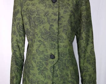 Vintage 90s Kasper Suit Jacket, Olive, Floral print, with Ornate knot-decorated Buttons, Unusual tailoring, Size 8