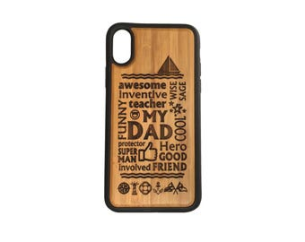 Dad Sailing iPhone Case Cover for iPhone X by iMakeTheCase Bamboo Cover+TPU Wrapped Edges Trout Fly Fish Dad Daddy Man Husband Woodsman Game