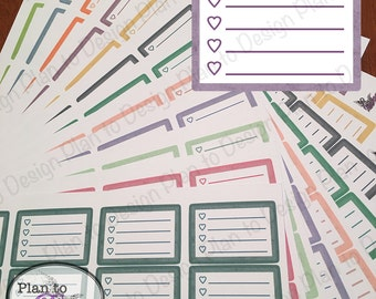 Heart Checklist Planner Stickers/Footers (16/32) Single Color made for Erin Condren Vertical Recollections Happy Planner Kate Spade 2017-18