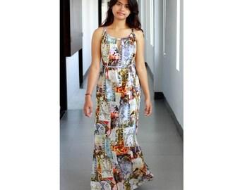 World Map Maxi Dress / Womens Dresses / Cut Out Dress / Summer Long Dress / Sundress