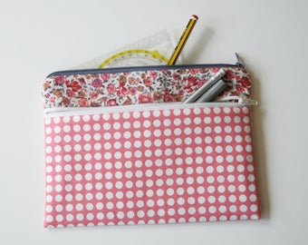 Organizer Taschenorganizer Small pouch bag in the bag apricot white dots flower