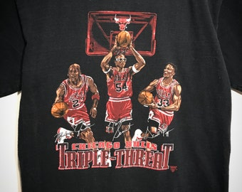 Vintage Nutmeg Chicago Bulls Triple Threat T-Shirt
