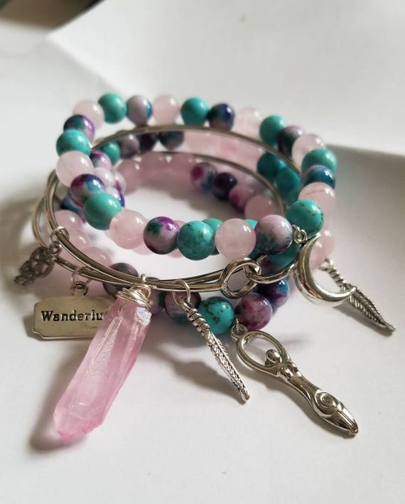 Wild Woman: Reiki Attuned Healing Stack with Rose Quartz, Turquoise Howlite, and Jade