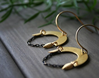 Geometric earrings brass earrings half moon earrings gold leaf earrings chain dangle earrings nature jewelry half circle - Ajana Earrings