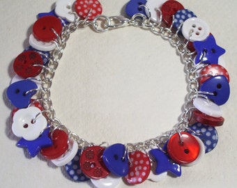Summer - Red, White and Blue button charm bracelet Button Jewellery Button Jewelry UK Handmade