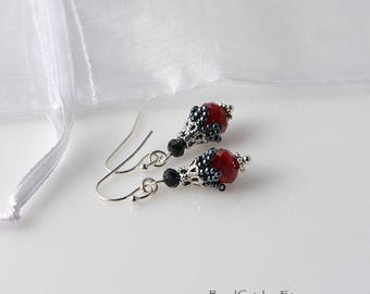 Small beadwoven bell flower Victorian earrings RED