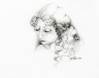 "Drawing of a Girl ""Simple Girl"" Minimalist Pencil Drawing One of a Kind Gift for her Original Fine Art Black and White Minimalist Fine Art"