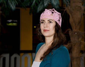 Pink Crochet Summer Women's Beanie - Squares Crochet Hat - Women's Cotton Beanie Hat Cap - ItWasYarn Hats - Pink Lace Messy Bun Crochet Hat