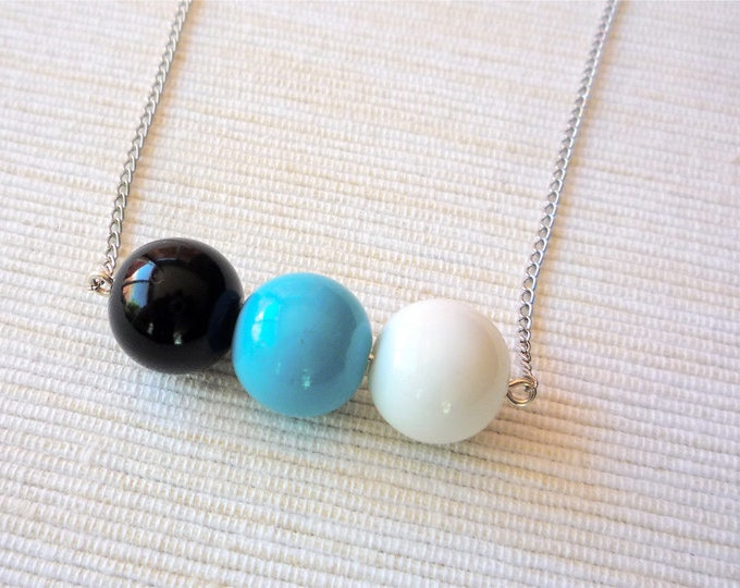 Beaded long Necklace  - minimalist long necklace - long chain necklace - ball necklace