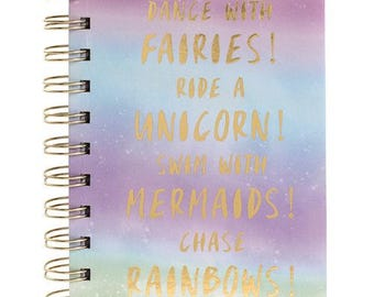 Unicorn, Mermaid, Fairies and Rainbow notebook