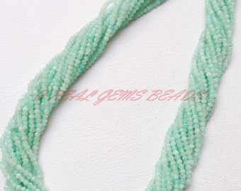 """Natural Amazonite Rondelles, Amazonite Faceted Rondelle Beads, 2 MM, 13"""" Strand, Loose Gemstone Roundel Beads, AAA Finest Quality"""