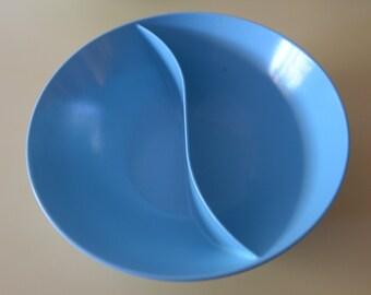 Vintage Blue Marcrest Melmac Melamine Divided Serving Bowl