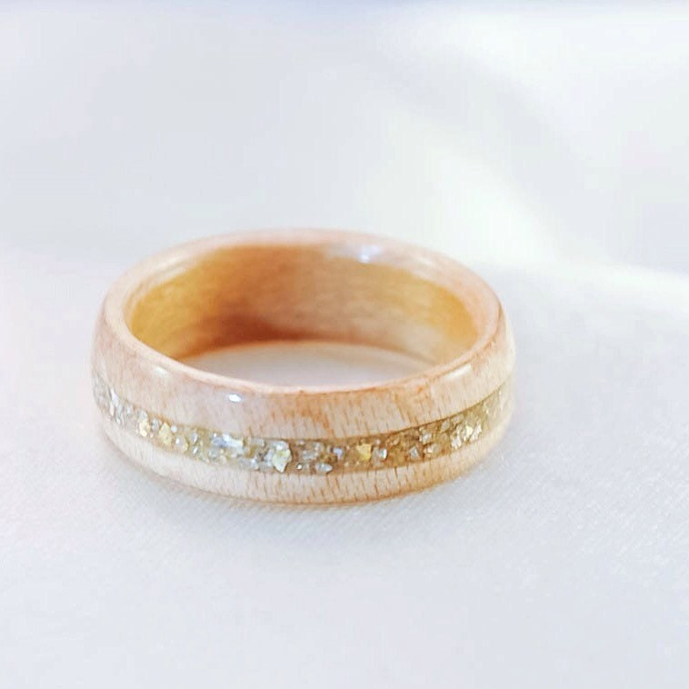 Wood Ring Wooden Wedding Band Gold Ring Wood Rings For