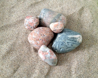 Beach Stones, 6 hand chosen from the Beautiful Sandy Shores of Lake Huron, Canada