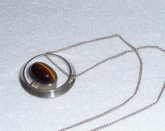 Martti Viikinniemi (Finland). Pendant. Silver and Tiger-eye. Vintage.