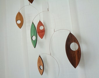Mid century modern Mobile, Wooden Leafs Hanging Mobile, Autumn leaves