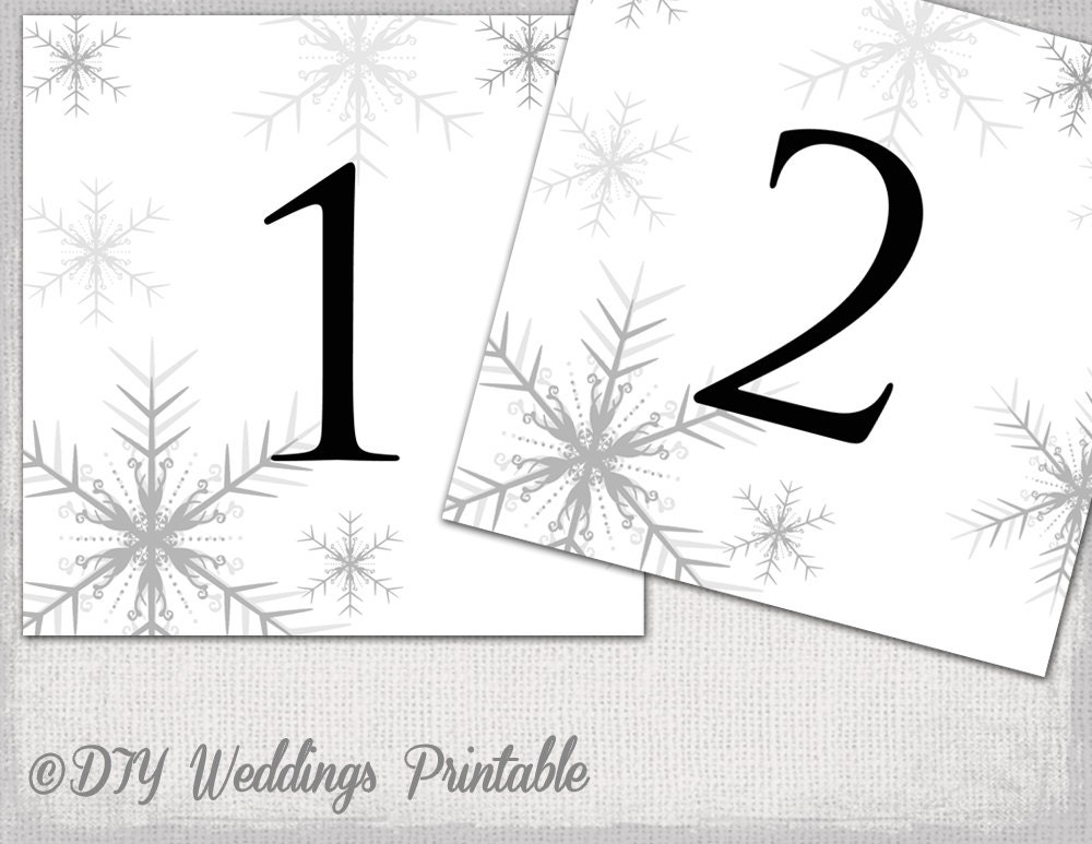 Winter wedding table number template DIY Silver Gray