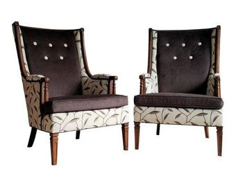 Wingback Chairs - Vintage Living Room Chair - Upholstered Armchairs