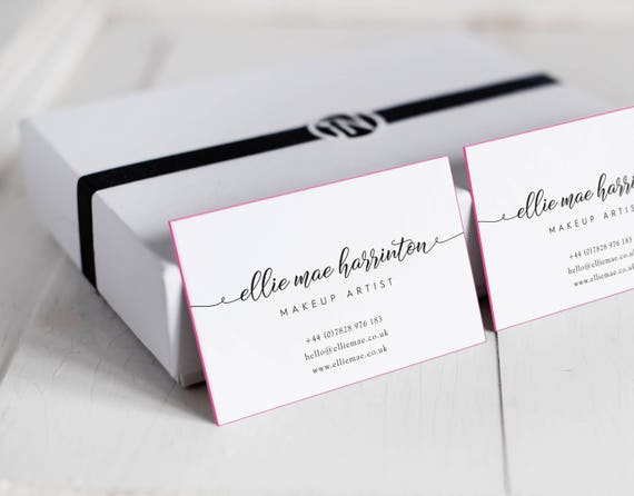 Business cards calligraphy business cards painted edges