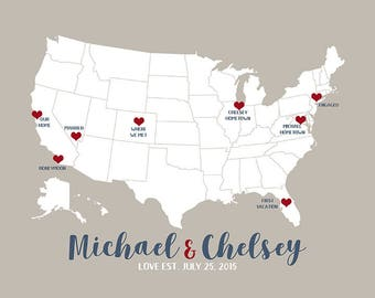 Couples Map, Choose Any Locations, First Met, Wedding Gift, Engagement, Honeymoon, First Trip, Husband and Wife Journey, Love Travels | WF83