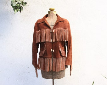 1970s brown leather fringe jacket - 70s country western riding jacket - boho hippie woodstock festival [ small / medium ]
