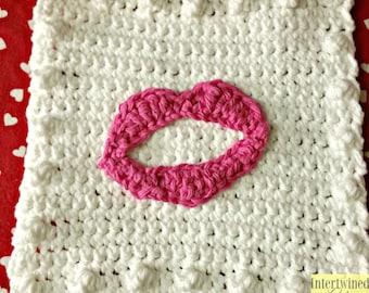 Crochet Lips Applique Granny Square PATTERN: Like a BOSS Blanket Series pdf instant digital download