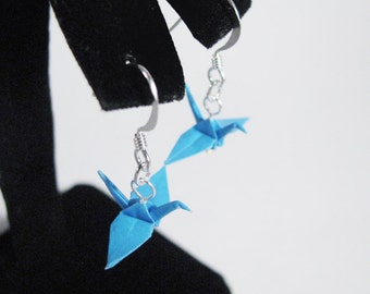 "Origami Crane earrings Aquamarine Blue 3/4""  Paper Crane Earrings Solid Color"