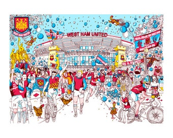 West Ham hammers illustration print artwork gift. A4 or A3 Signed QueenKwak 'City Celebration' original football fan art, picture, poster.