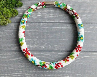 Womens necklace Mom Gift|for|women Natural jewelry Botanical Seed bead necklace Flower jewelry White red Rustic jewelry Statement necklace